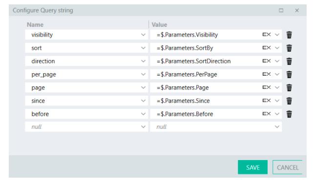 Configure query parameters